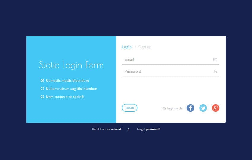 Static Login Form Responsive Widget Template