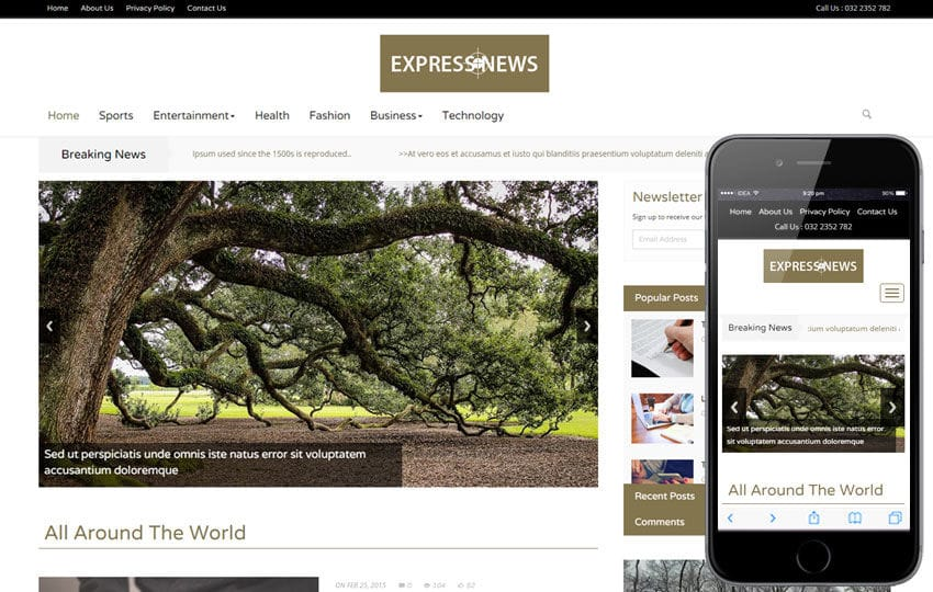 Express News a Entertainment Category Flat Bootstrap Responsive Web Template