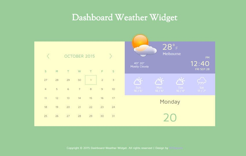 Dashboard Weather Responsive Widget Template