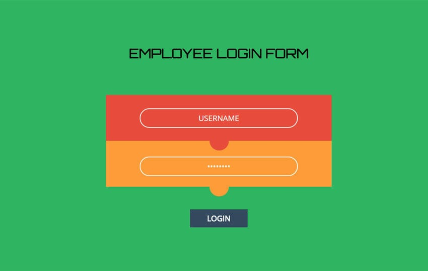 Employee Login Form Responsive Widget Template
