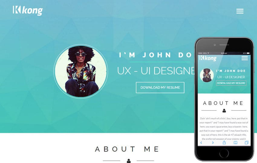 Kong a Personal Portfolio Flat Bootstrap Responsive Web Template