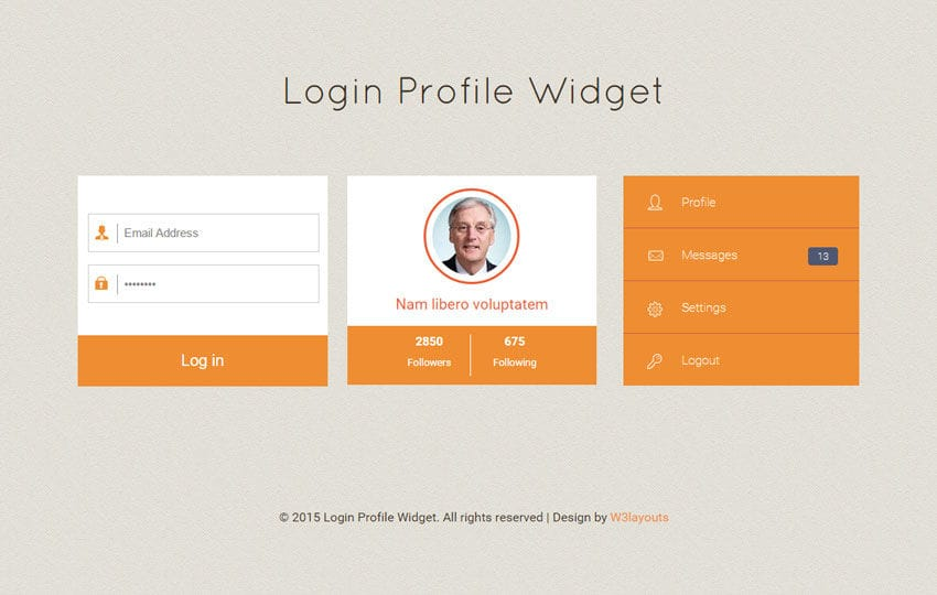 Login Profile Responsive Widget Template