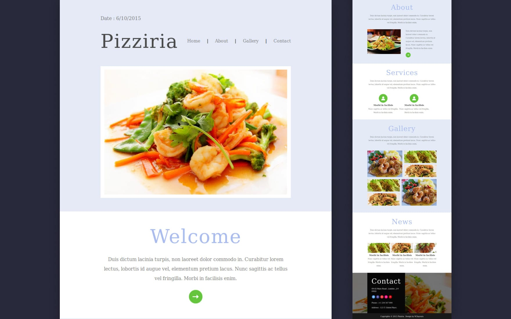 Pizziria a Newsletter Responsive Web Template