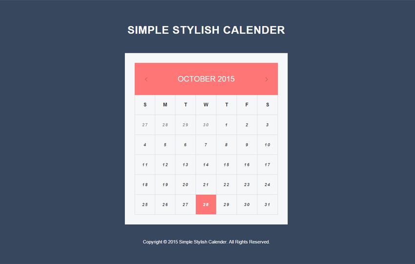 Simple Stylish Calendar Responsive Widget Template