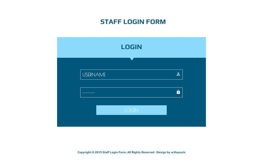 Staff Login Form Responsive Widget Template