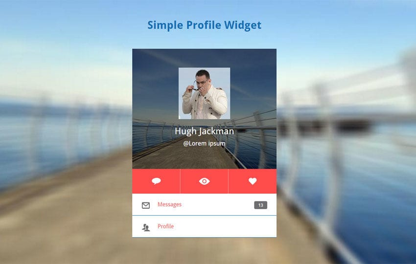 Simple Profile Widget Responsive Template