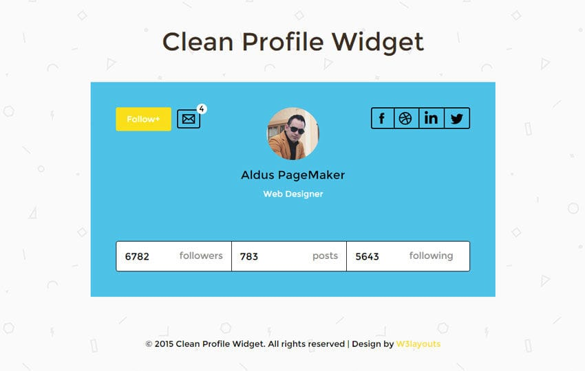 Clean Profile Widget Responsive Template