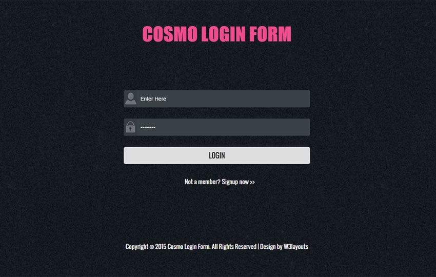 Cosmo Login Form Responsive Widget Template