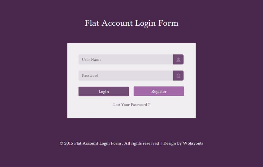 Flat Account Login Form Responsive Widget Template