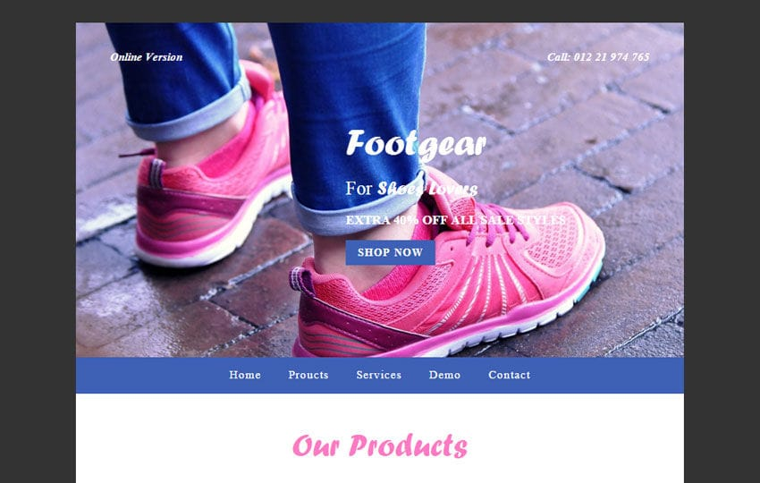 Foot Gear a Newsletter Responsive Web Template
