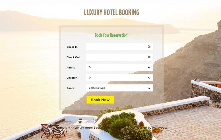 Luxury Hotel Booking Responsive Widget Template