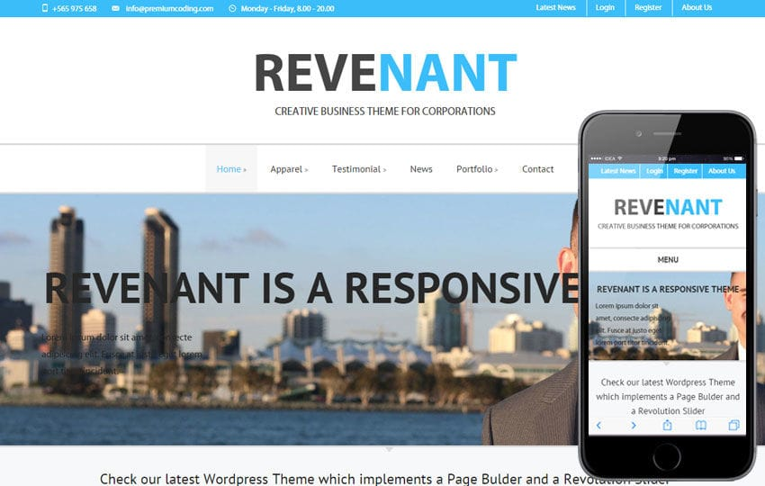 Revenant a Corporate Business Flat Responsive Web Template