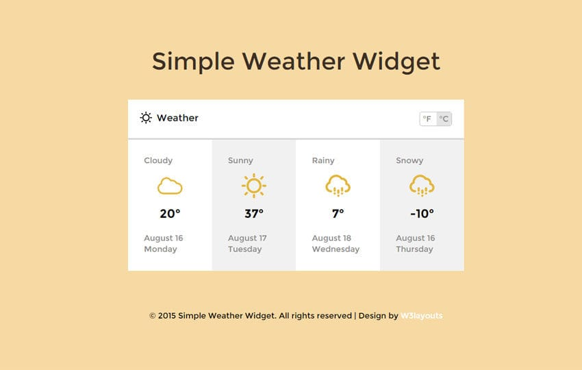 Simple Weather Widget Responsive Template