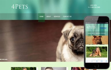 4Pets animals Mobile Website Template