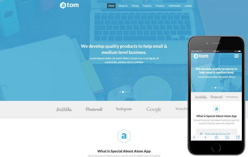 Atom a Corporate Multipurpose Flat Bootstrap Responsive Web Template