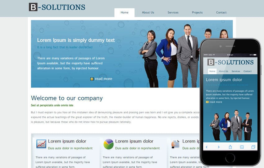 Free B-Solutions web Template for corporate business sites