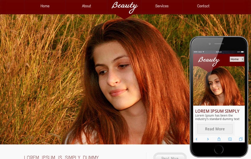 Beauty Parlour Mobile Website Template