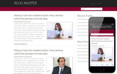 Free Blog Master blogging website template and mobile webtemplate