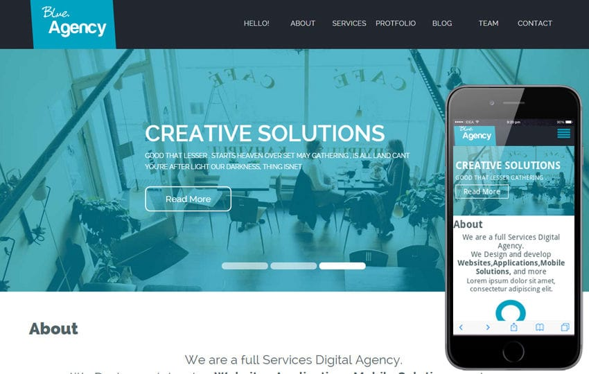 Blue Agency a Corporate Flat Bootstrap Responsive web template