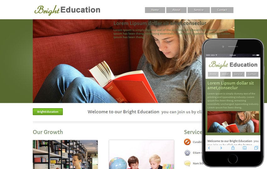 Bright Education Web template and mobile website template for educational institutions