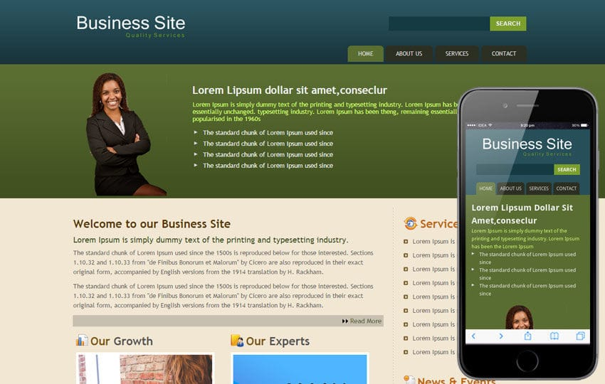 Free Business website template and Mobile website for corporate businesses