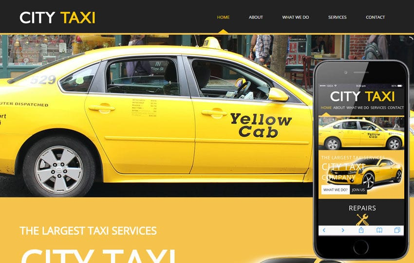 City Taxi a taxi services Mobile Website Template