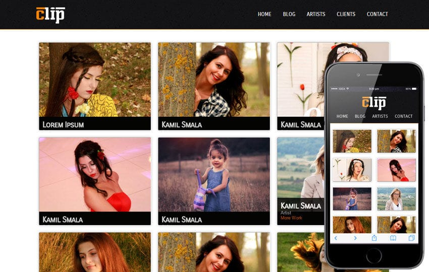 Clip Web and Mobile website template for free