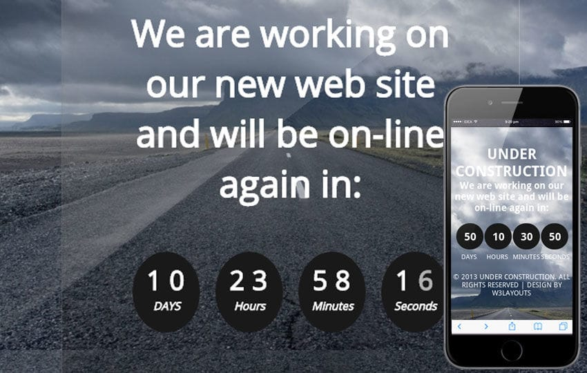 Construct Under Construction Mobile Website Template
