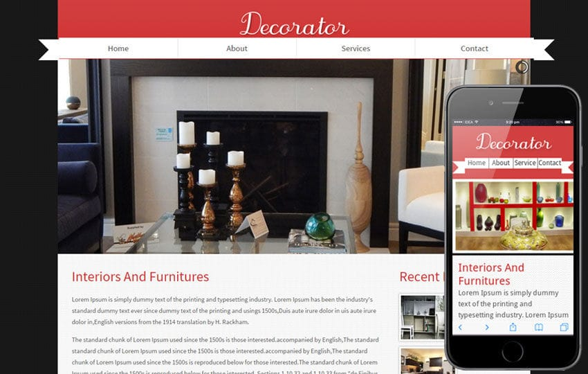 Decorator interior architects Mobile Website Template