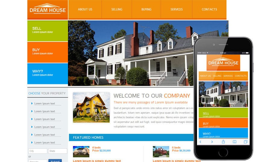 New Dream House webtemplate and mobile webtemplate for free
