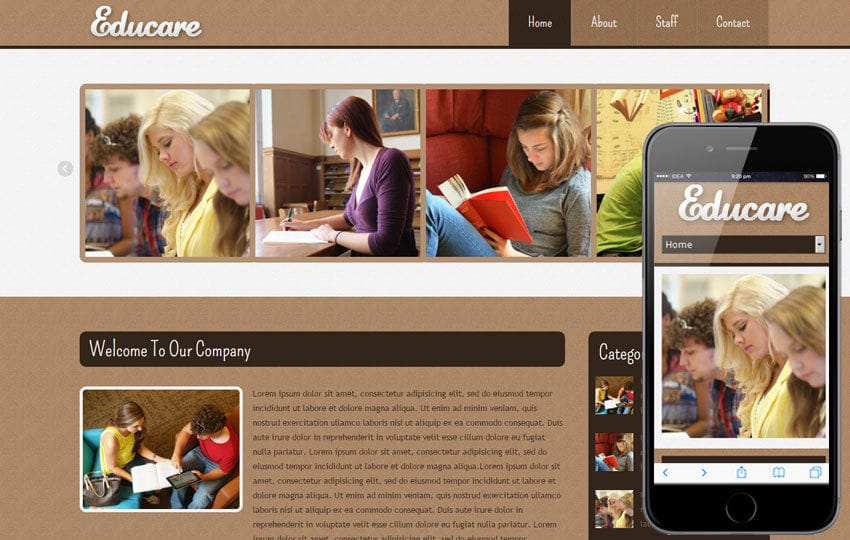 Educare Education Mobile Website Template