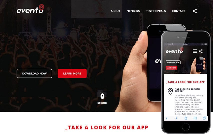 Evento a Mobile App based Flat Bootstrap Responsive Web Template