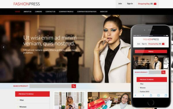 Fashion Press Flat Ecommerce Bootstrap Responsive Web Template