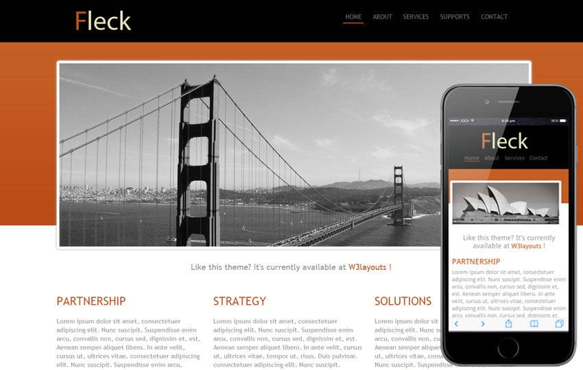 Fleck website template and Mobile Template for Free