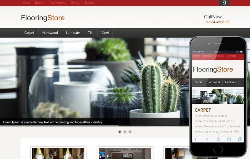 Flooring Store Web and Mobile website template for free