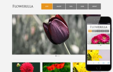 Flowerilla gallery webtemplate and mobile webtemplate for free