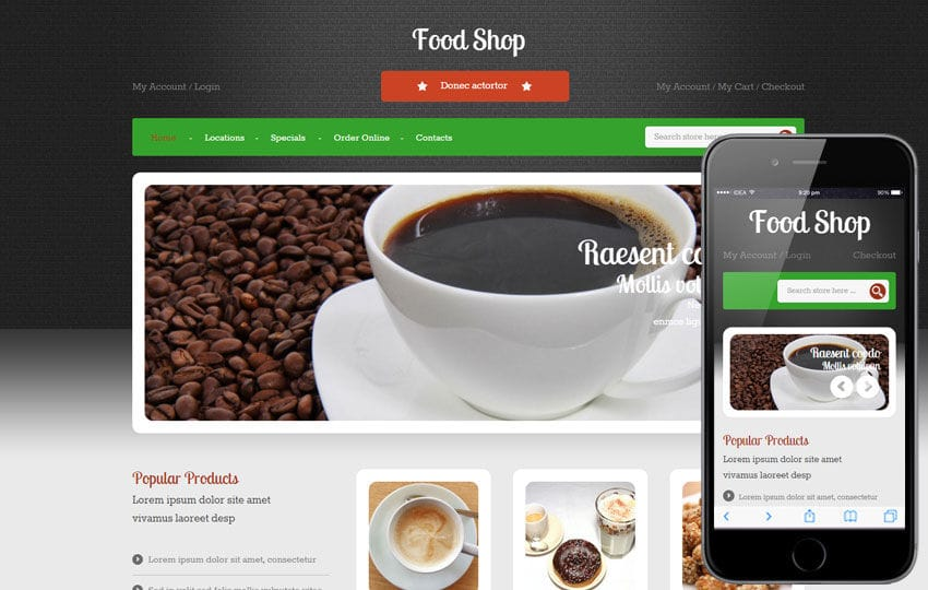 Food Shop a Hotel Category Flat Bootstrap Responsive Web Template