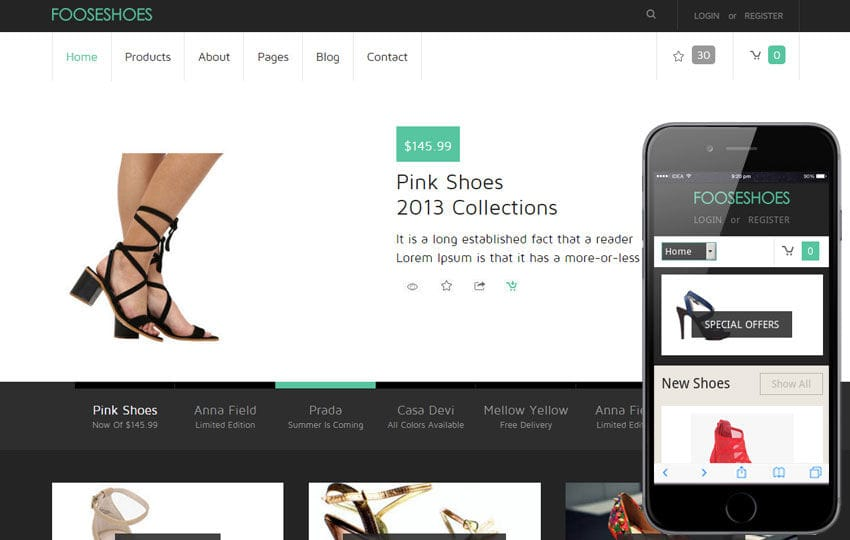 FooseShoes a Flat ECommerce Responsive Web Template