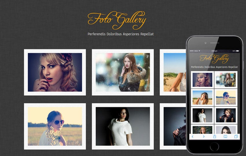 Foto Gallery website template and mobile webtemplate for free