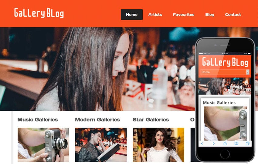 Gallery Blog web and mobile website template for free