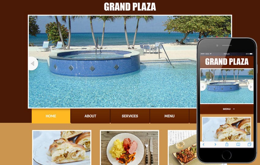 Grand Plaza web template and mobile website template for Restaurants and hotels