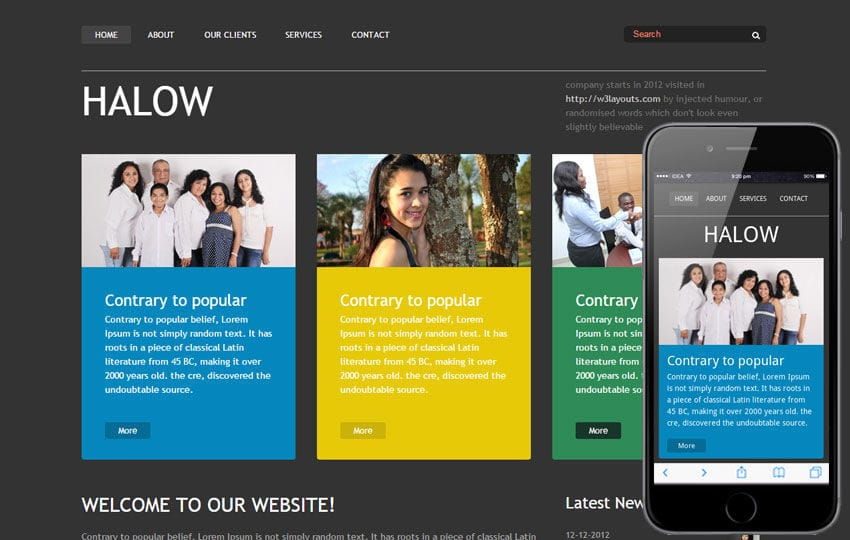 Halow website template and Mobile Template Free