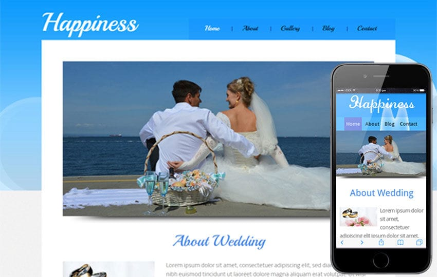 Happiness wedding planner Mobile Website Template