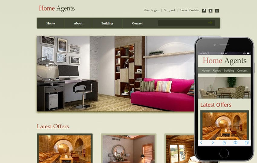Home Agents web and mobile website template for free