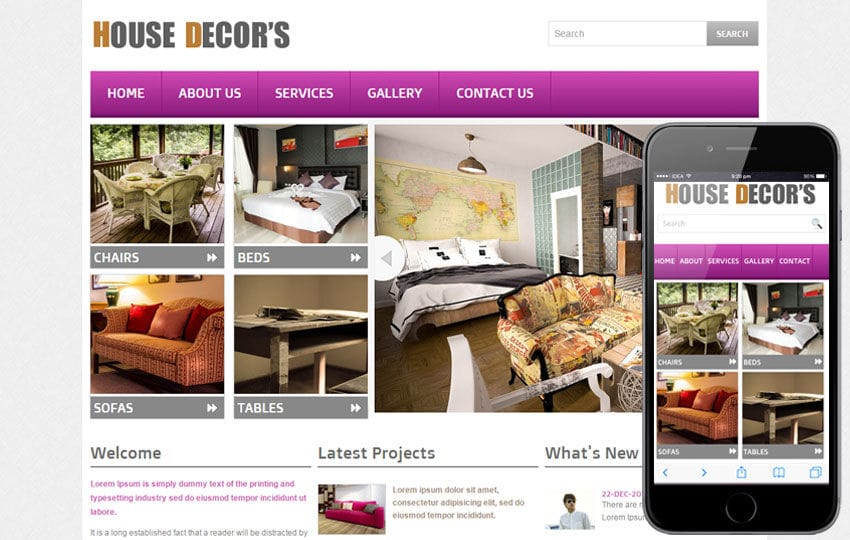 New House Decors Interior web template and mobile website template for free