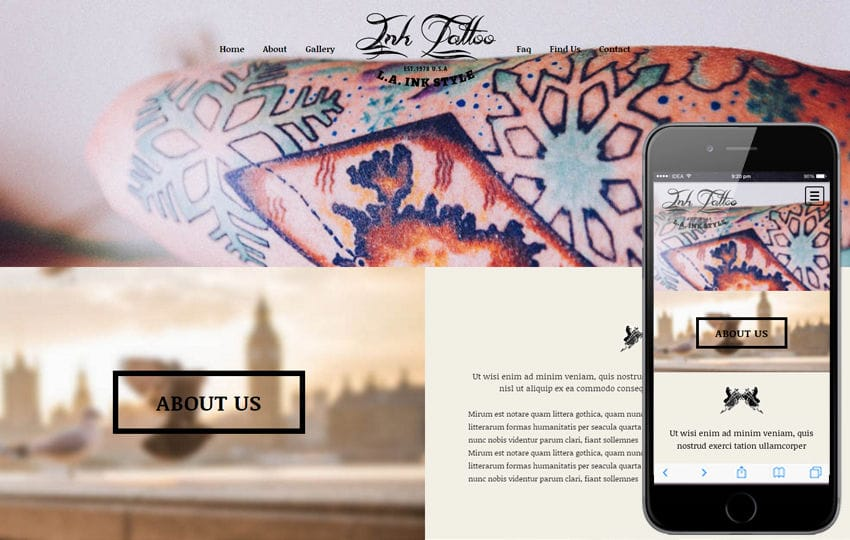 Ink Tattoo a Fashion Category Flat Bootstrap Responsive web template