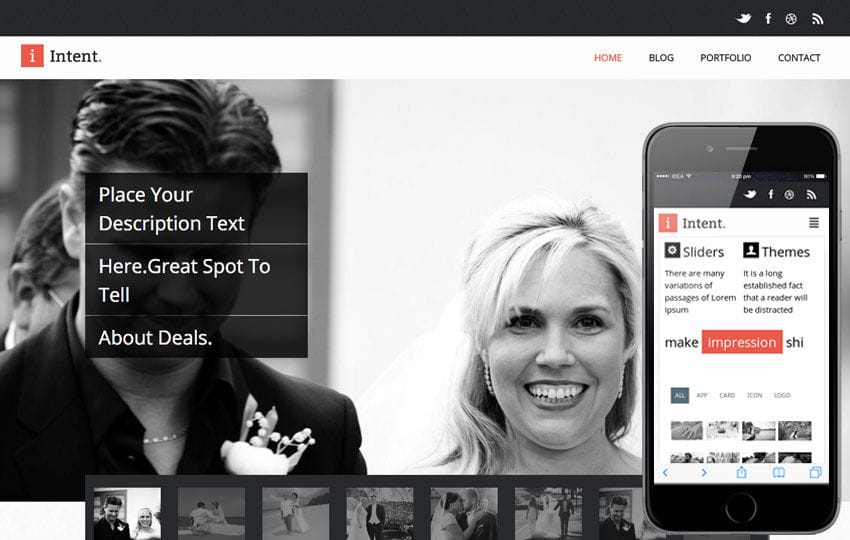 Intent Flat Responsive Wedding web template