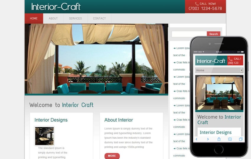 Interior Craft interior architects Mobile Website Template