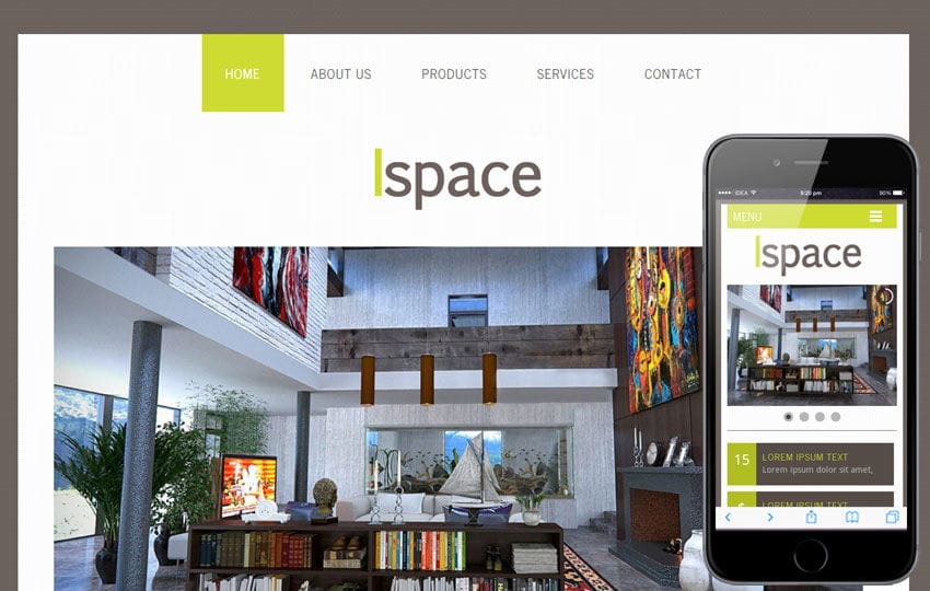 Ispace a interior architects Mobile Website Template