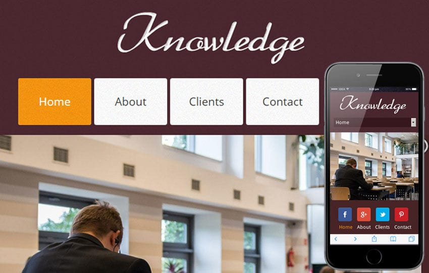 Knowledge a Education Mobile Website Template